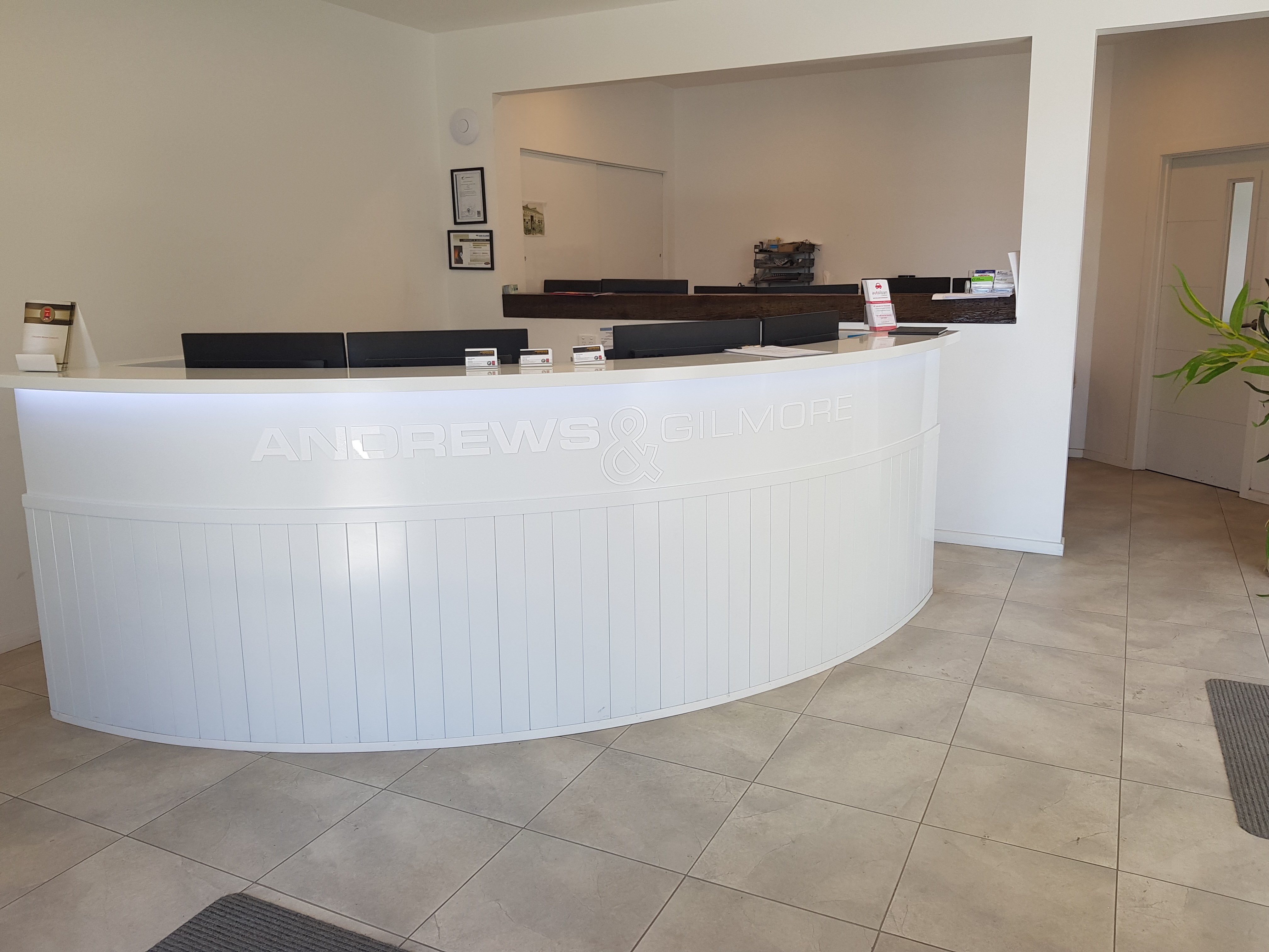 reception area of Andrews and Gilmore Christchurch